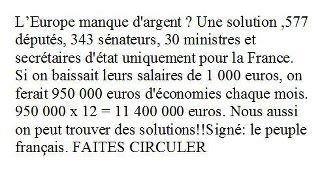 Pétition : Pour la diminution de 1000€ sur les salaires de tous politiques,pour le plan d'austérité