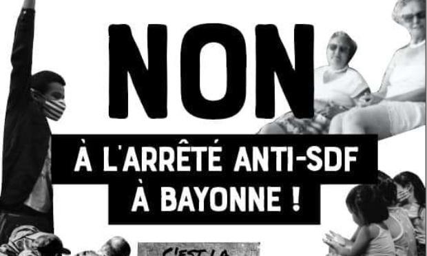 Non à l'arrêté anti-sdf à Bayonne !
