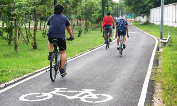 Travaux à l'entrée du Parc, continuité cyclable
