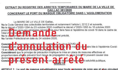 Demande d'annulation de l'arrêté «381/2020 concernant le port du masque obligatoire dans l'agglomération»
