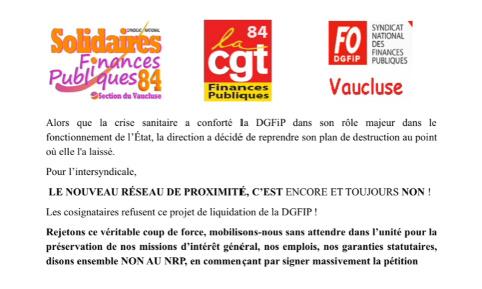 Finances publiques, non au nouveau réseau de proximité en Vaucluse !!!!