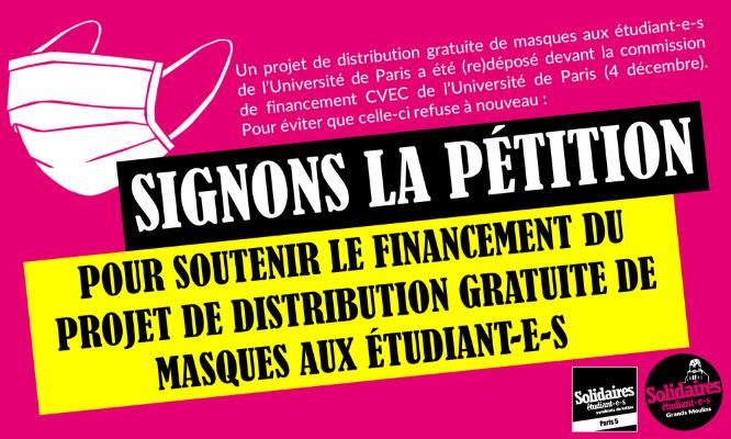 Soutenons la demande de financement pour la distribution gratuite de masques à l'Université de Paris