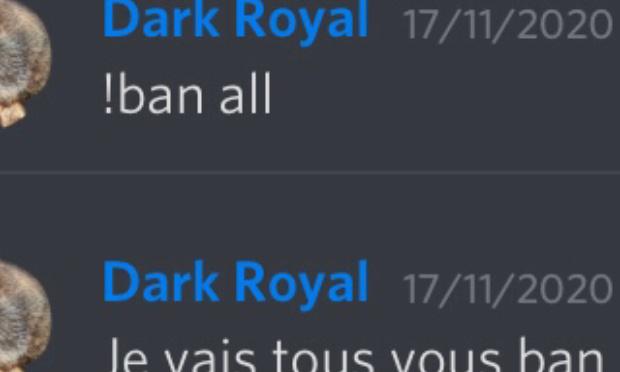 Retirer tout droit à Dark Royal#7200 sur le serveur francophone GamePress