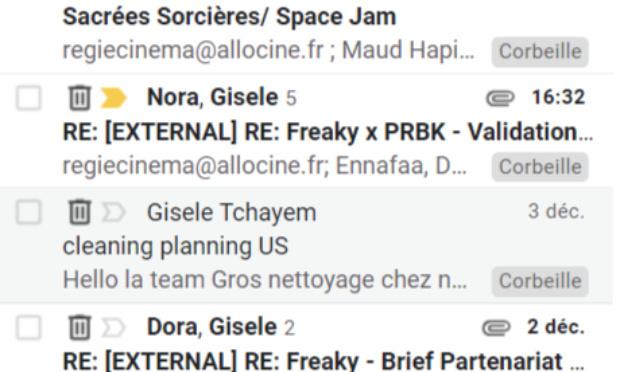 Pour l'arrêt de l'alias regiecine@allocine dans les boucles de mails clients de Gisèle