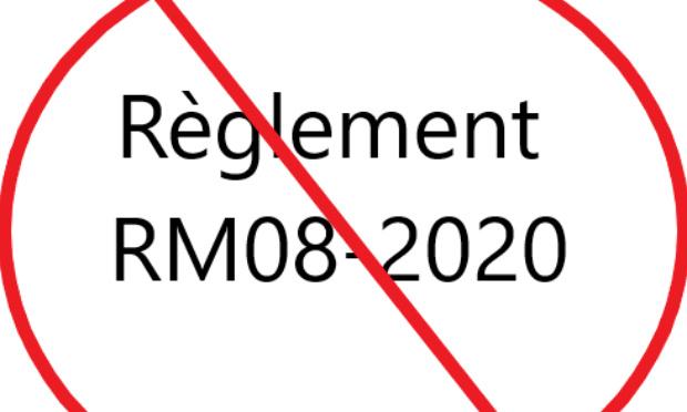 Blocage du règlement RM08-2020