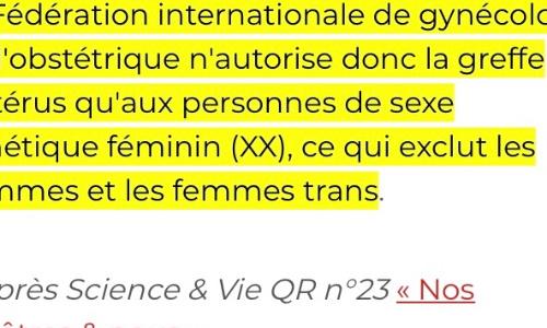 Laisser les femmes trans avoir recourt à la greffe d'utérus comme n'importe quelles autres femmes