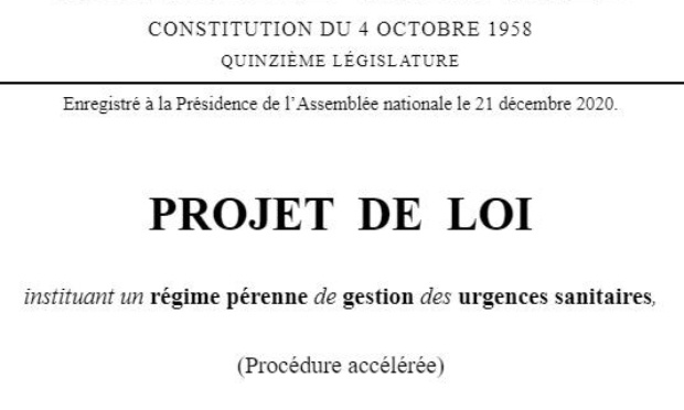 Non au projet de loi instituant un régime pérenne de gestion des urgences sanitaires sans contrôle.