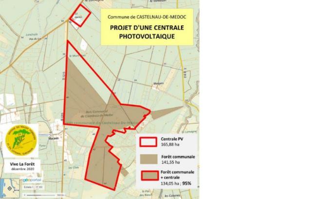 Pétition : Non à l'abattage de 95% de la forêt communale de Castelnau de Médoc, pour implanter 2 centrales photovoltaïques.