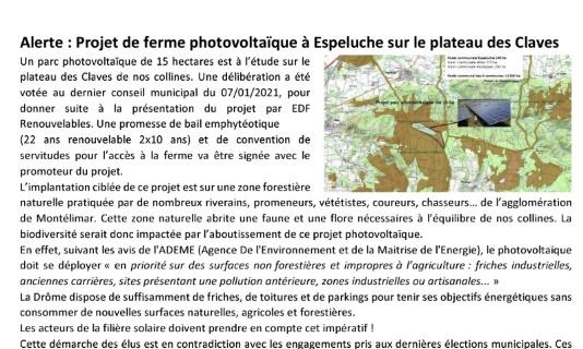 NON au projet de ferme photovoltaïque à Espeluche sur le plateau des Claves