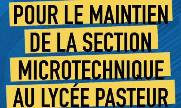 Pour le maintien de la section Microtechnique au lycée Pasteur