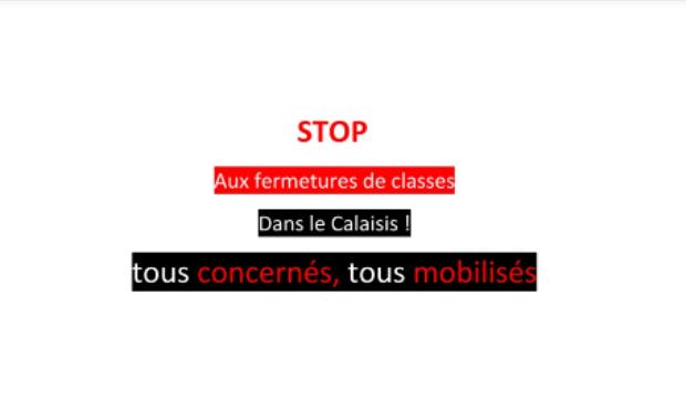 STOP aux fermetures de classes dans le Calaisis