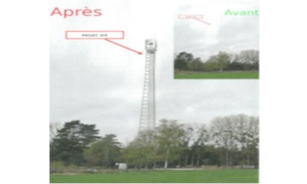 Installation d'un pylône de 42m pour une antenne-relais, à 100m de la rue de Neubourg D227