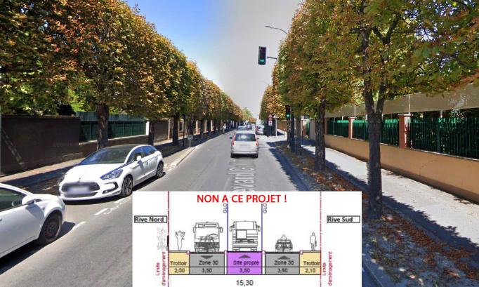Non à l'abattage de 120 arbres et à la suppression de 47 places de stationnement pour la création d'un couloir de bus!