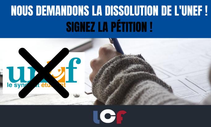 Nous demandons la dissolution de l'UNEF !