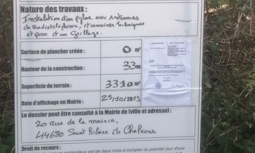 CONTRE L'INSTALLATION D'UNE ANTENNE RELAIS 4 G À SAINT HILAIRE DE CHALÉONS
