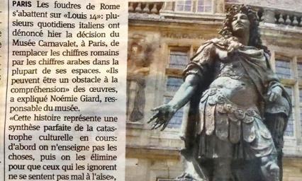 Pétition : Contre la substitution des chiffres romains par les chiffres arabes pour les siècles et les rois au musée Carnavalet