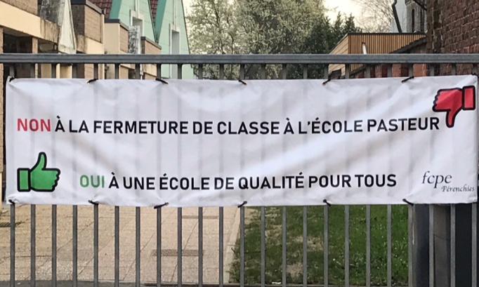 Non à la fermeture de classe de l'école PASTEUR de PERENCHIES