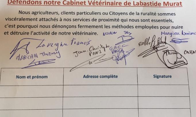 Défendons notre cabinet vétérinaire de Labastide Murat