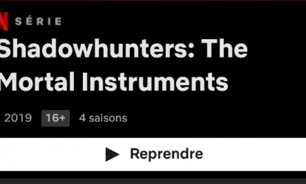 Je veux que il y est une suite pour la série Shadowhunters sur Netflix