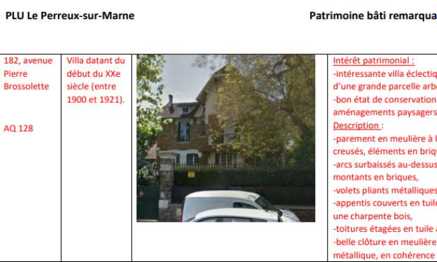 NON a la destruction de la demeure classée au PLU du 182 ave Pierre Brossolette (Le Perreux/Marne)