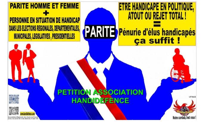Pour la parité homme/femme, mise en œuvre pour le handicap ! Pénurie d'élus handicapés, ça suffit !