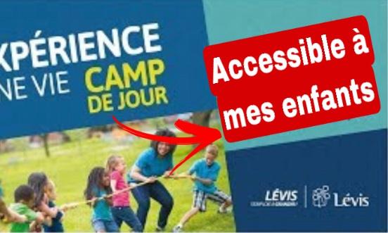 Accessibilité des camps de jour de la ville de Lévis