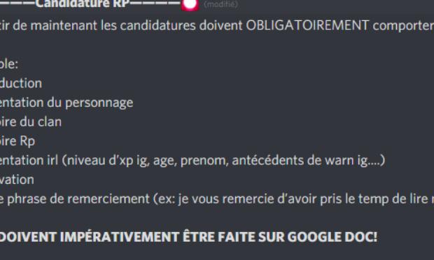 Que les candidature RP sont autorisé sur Google Slyde.