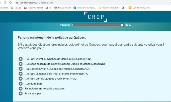 Nous membres et sympathisants du PCQ demandons à Crop-La Presse de faire preuve d'intégrité et de bonne foi et d'insérer le Parti Conservateur du Québec dans leurs choix de partis.