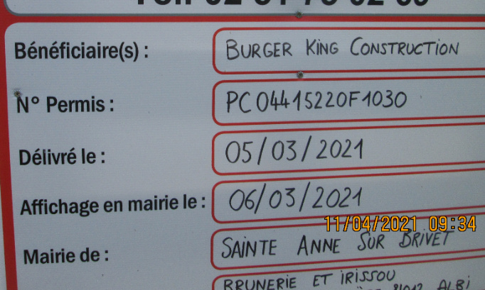 Non à l'implantation d'un Burger King zone de la Hirtais à Sainte Anne sur Brivet/ Pontchâteau