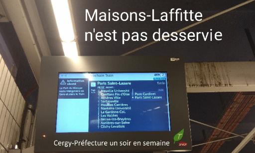 POUR QUE TOUS LES TRAINS (LIGNE L COMME RER A) MARQUENT L'ARRÊT A MAISONS-LAFFITTE