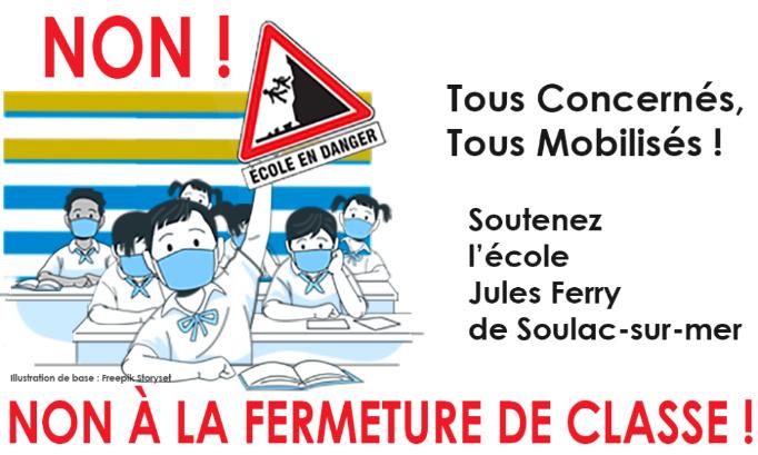 Non à la fermeture de classe à l'école Jules Ferry de Soulac-sur-mer !
