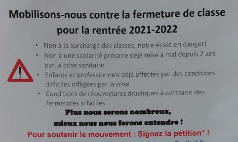 NON à la fermeture de classe à l'école BROSSOLETTE pour la rentrée 2021-2022