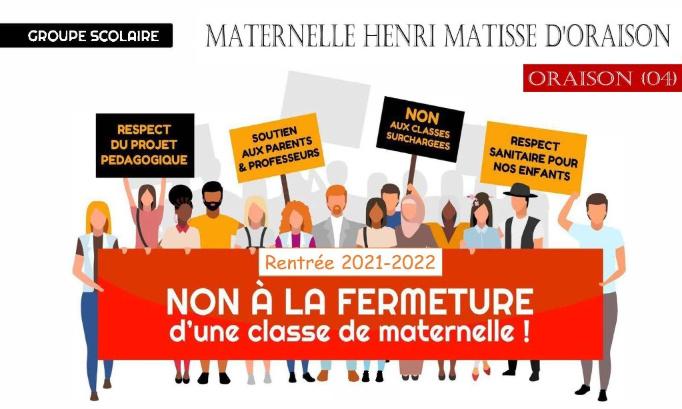 Pétition : Contre la fermeture annoncée d'une classe à la rentrée 2021 à l'école maternelle Henri Matisse d'Oraison