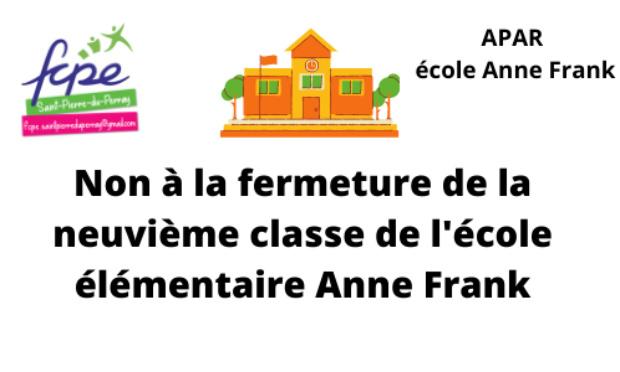 Non à la fermeture de la 9ème classe à l'école élémentaire Anne Frank