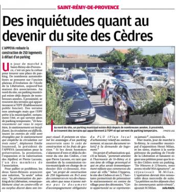 Pétition : Pour le maintien du parking de la Libération ( site des cèdres)