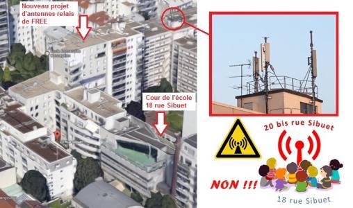 NON à l'antenne relais FREE 4G au dessus de l'école de l'Immaculée Conception (Paris 12ème)