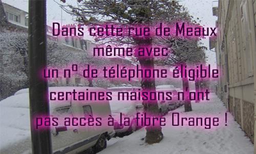 Non au laxisme, à l'incompétence, d'Orange ! Dans cette rue de Meaux, même avec un numéro de téléphone éligible, certaines maisons n'ont pas accès à la fibre Orange.