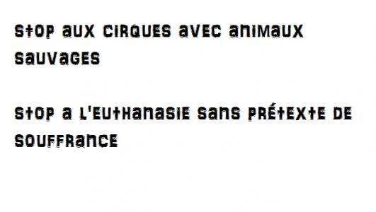 Stop aux cirques avec animaux sauvages et stop à l'euthanasie sans prétexte de souffrance
