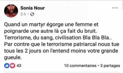 Pétition : Pour que Sonia Nour soit inculpée d'apologie du terrorisme