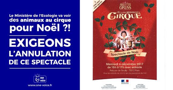 Le Ministère de l'Écologie va voir des animaux au cirque pour Noël #SouffranceAnimaleAuMinistere