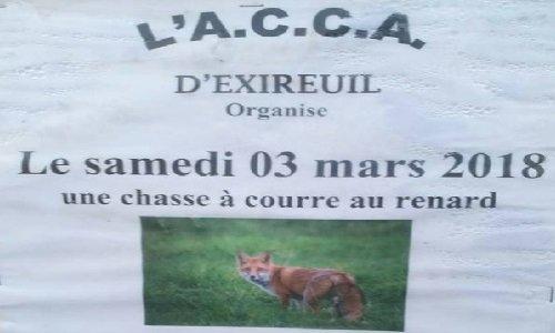Mobilisation contre la chasse à courre au renard  à Saint-Maixent l'Ecole 79400