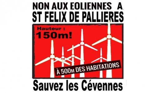 Pétition : NON AU PROJET DE 6 EOLIENNES de 150m de haut à ST FELIX DE PALLIERES en Cévennes