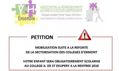 Pétition : Sectorisation des collèges d'Ermont : mobilisation pour un meilleur découpage et plus de moyens