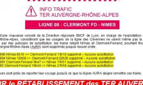 RÉTABLISSEMENT des TER SNCF AUVERGNE CLERMONT-FERRAND  NIMES