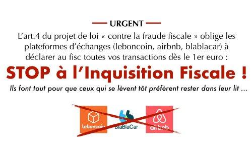 Pétition : Leboncoin, Airbnb, Blablacar : STOP à l'Inquisition Fiscale !