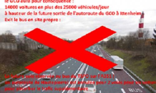 Pétition : Droit aux transports en commun à l'ouest de strasbourg ! le GCO annule le projet TSPO dans sa phase finale sur l'autoroute de Hautepierre par l'apport de 14000 véhicules supplémentaires/jour en plus des 25000 actuels : exit le bus en site propre !