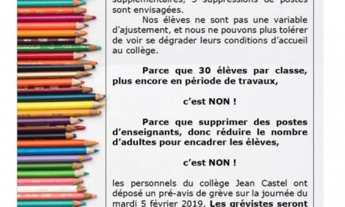 Pétition : Suppression de classe au collège Jean Castel
