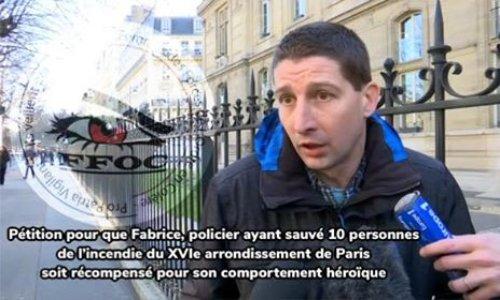 Pétition : Pour une distinction honorifique au policier ayant sauvé 10 personnes du feu, à Paris.