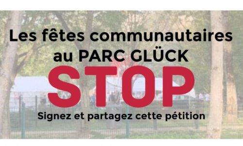 Les fêtes communautaires au Parc Gluck, STOP !