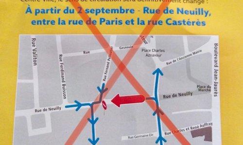 Non au changement de sens de la rue de Neuilly entre la rue de Paris et rue de Castères